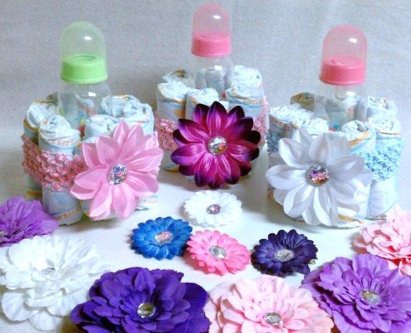 handmade gifts out of bottles | Baby Bottle mini Diaper Cake, Makes a Beautiful Baby Shower Gift ...