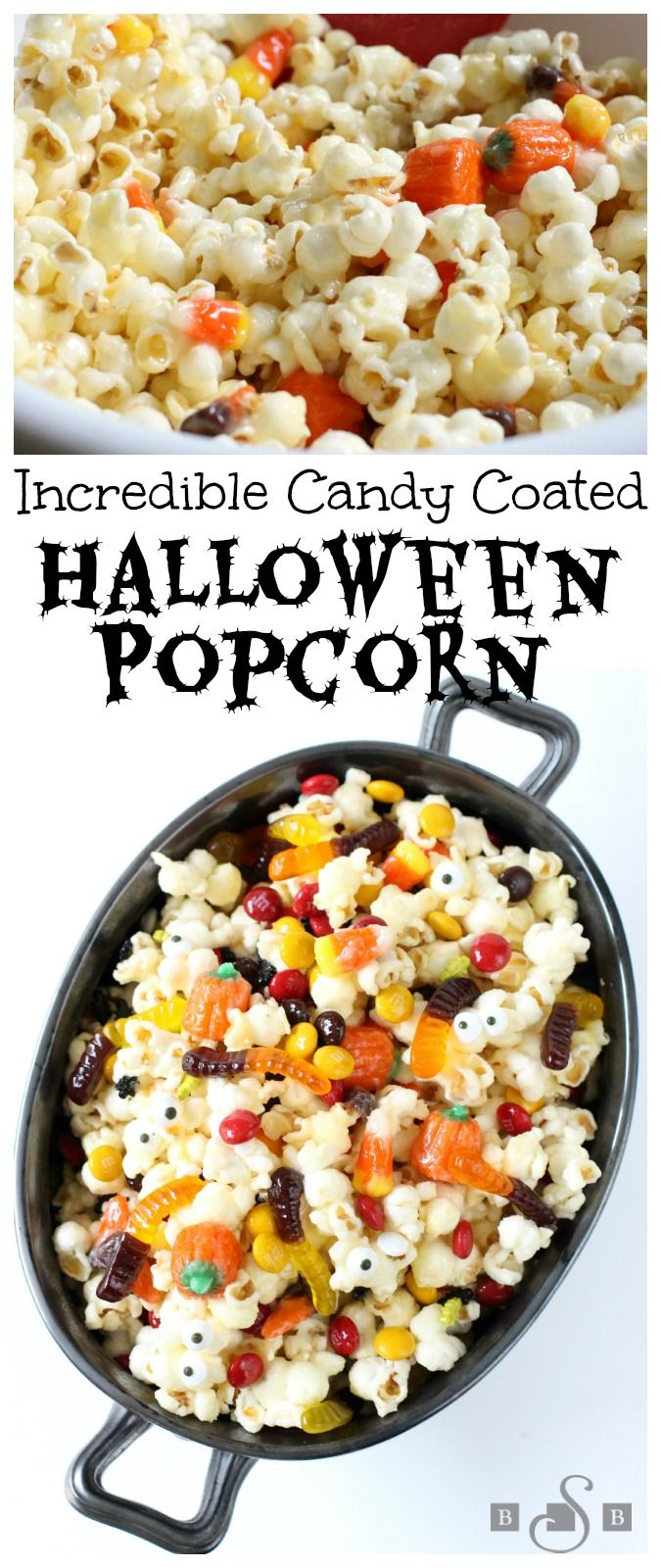Candy Coated Halloween Popcorn | This treat is so delicious, it's scary! Share with the whole family!
