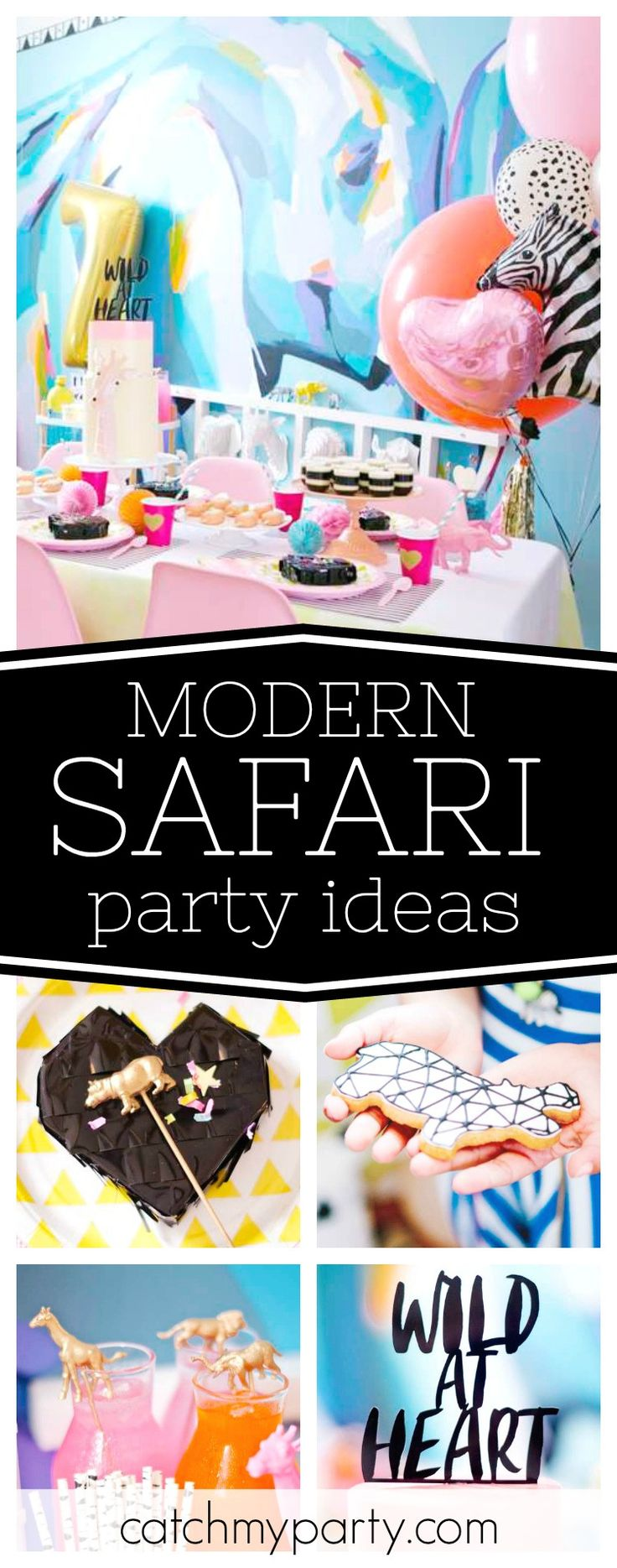 Be Wild at Heart with this awesome modern Safari birthday party! The decor is fantastic!! See more party ideas and share yours at CatchMyParty.com