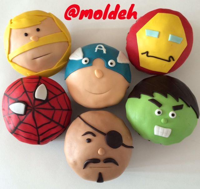 Cupcakes con diseño de Avengers, Thor, Ironman, Spiderman, Capitán América, Hulk y Nick Fury // Avengers Cupcakes