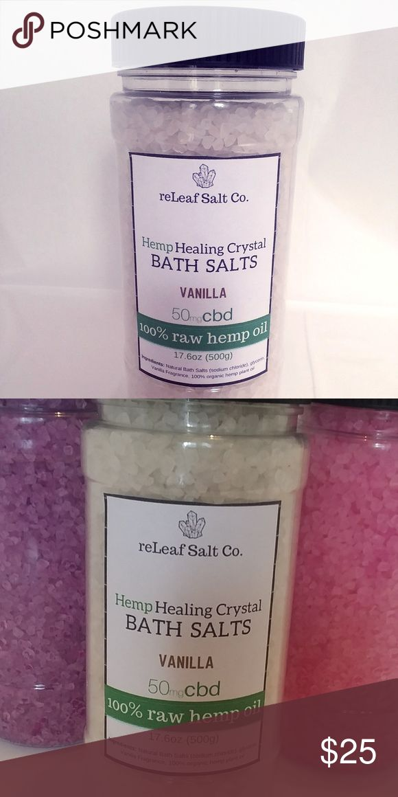 Natural Healing Bath Soak - Pain Relief 17.6 ounces of infused natural bath salt crystals!   DESCRIPTION Nourishing 100% natural fragrance oil, Vitamin E and whole plant hemp extract.   It regenerates you and creates a natural barrier from nerves that cause pain and relaxing at the same time. It relieves inflammation and irritation caused by common medical conditions and speeds up the healing process.  100% NATURAL RELAXING BATH ANTI-INFLAMMATORY  USES  • Sore muscle pain. • Joint…