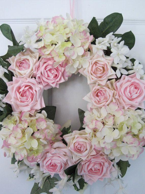 POTPOURRI POWDER ROOM Gift Wedding Valentine Scented Rose Silk Hydrangeas Wreath-Free Shipping