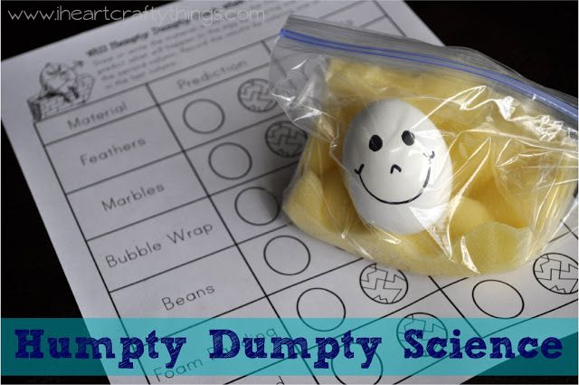 Humpty Dumpty Science Activity from I Heart Crafty Things. Includes a Free Printable Worksheet in the Post.