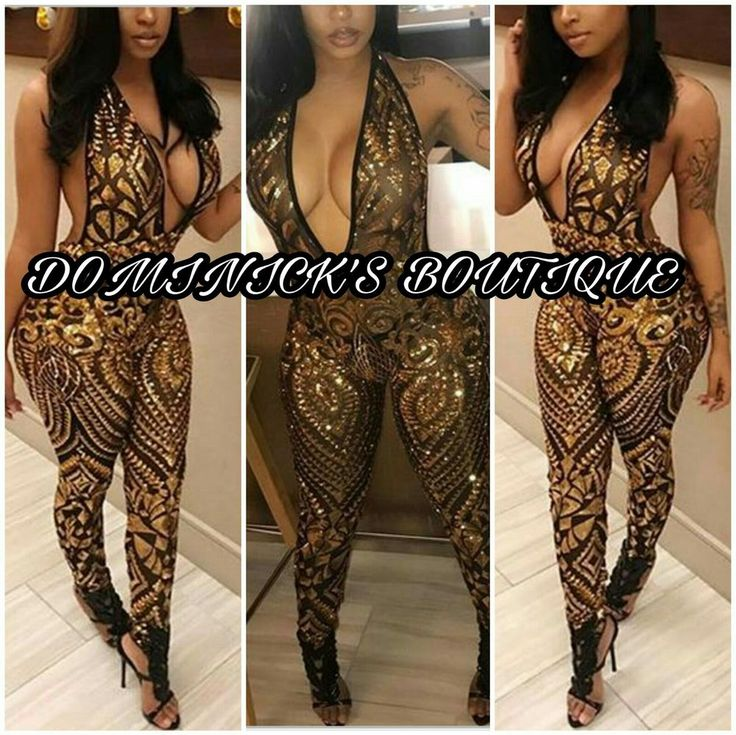 Sexy Deep V Neck Sleeveless Backless Gold Sequined One-piece Halter Jumpsuits DB #DOMINICKSBOUTIQUE #Jumpsuit