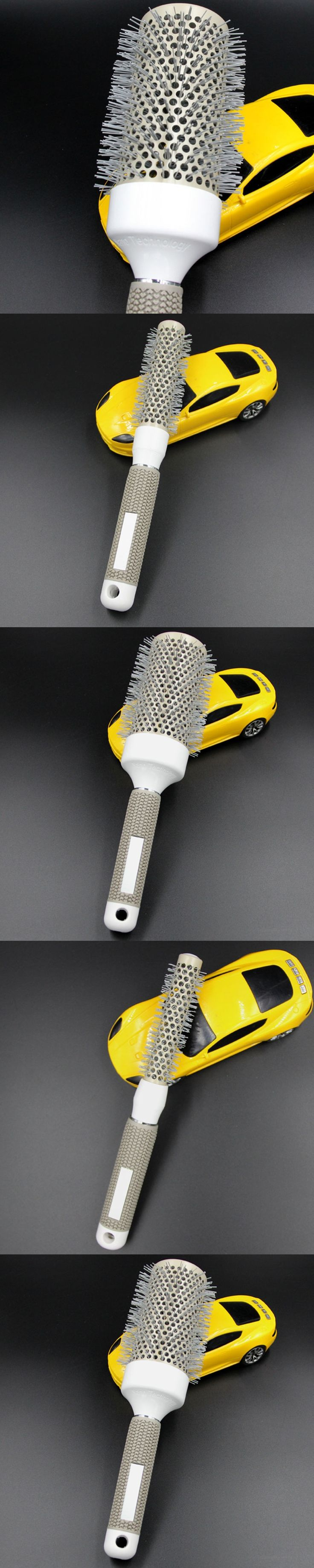 Lady Round Hair Brush Ceramic & Nylon Curly Hairbrush Massage Bomb Quiff Roller Comb Salon Hairdressing Styling Tools 25mm