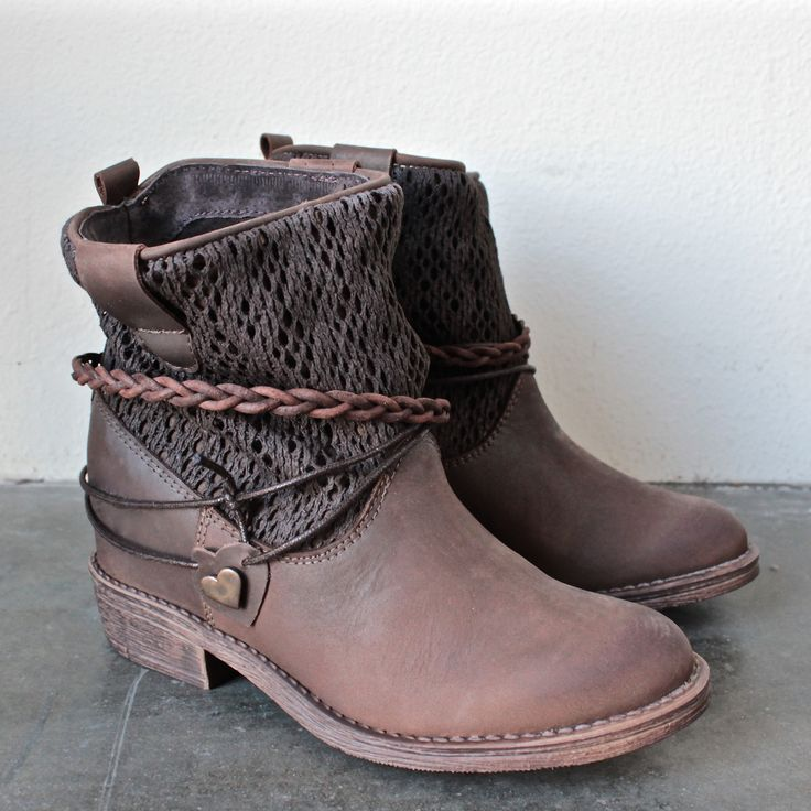 coolway - clea leather & fabric braid detailed hidden wedge ankle boots - shophearts - 1