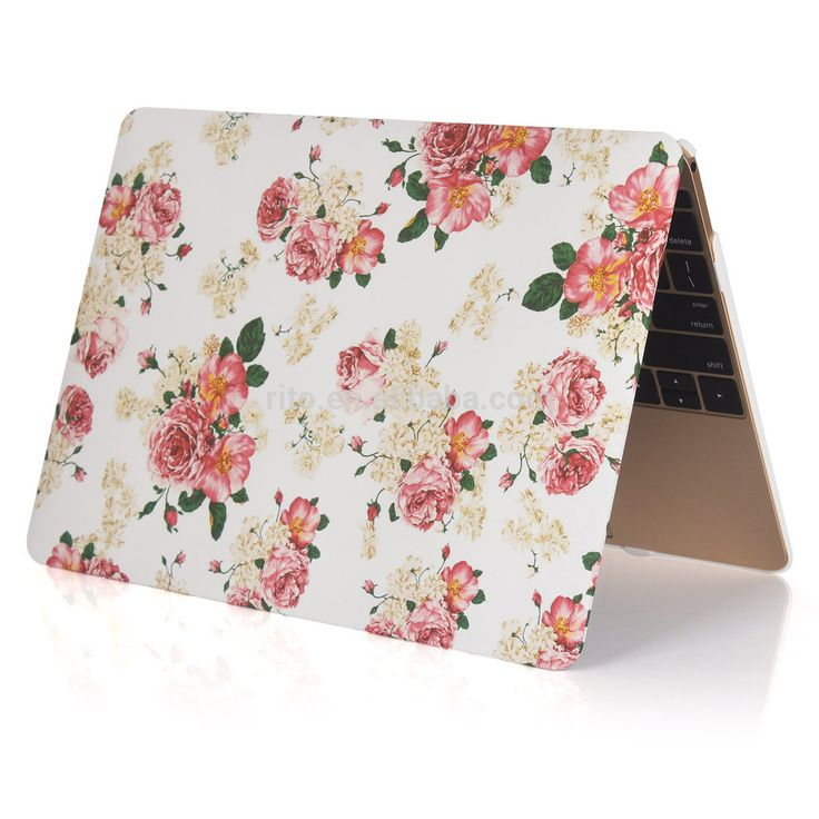 New Design Rubberized Floral Rose Pattern Hard Plastic Case Cover for Macbook Air