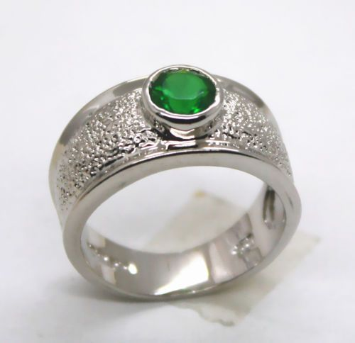 SIZE 7 NEW ARRIVED FASHION GREEN TOPAZ SILVER RING #97 #Unbranded #Band