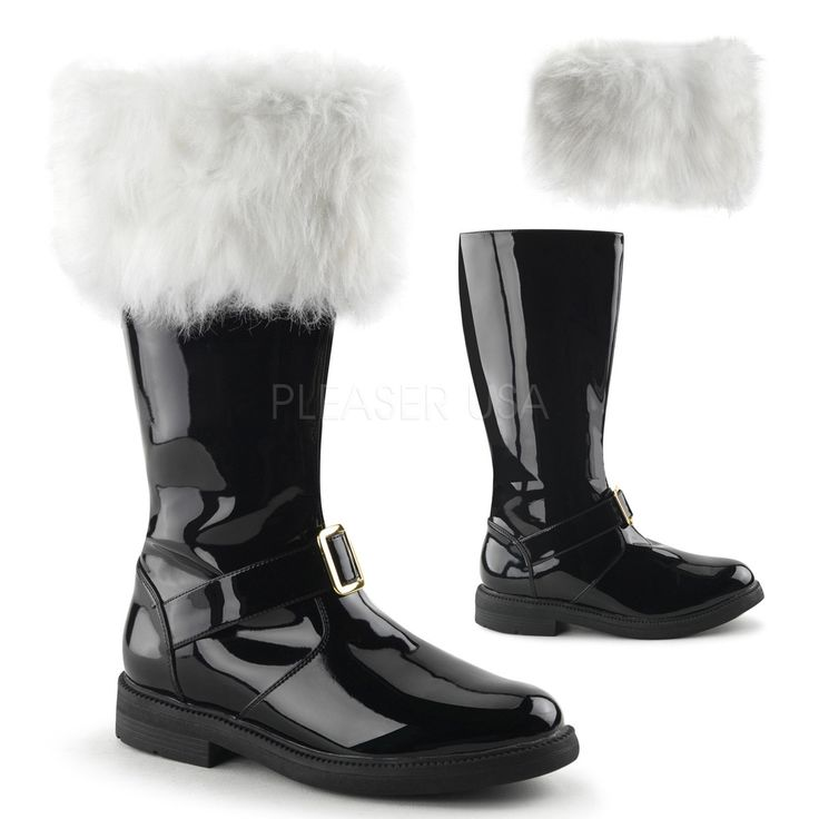 Men's Black Santa Boots with Removable Cuff