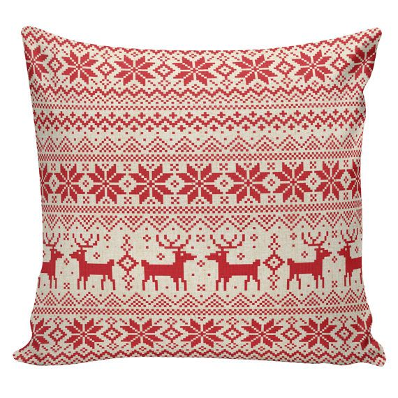 Items similar to Holiday Pillow Cover Swedish Scandinavian Christmas S&ler French Style Burlap Cotton Throw Pillow on Etsy