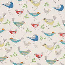 Buy John Lewis Stick Birds Fabric, Multi Online at johnlewis.com