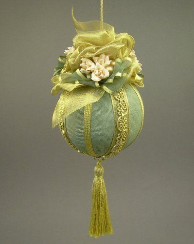 """""""Avon Lady"""" by Towers and Turrets - Large Moss Green Moire Faille Fabric Ball Christmas Ornament with Parchment Roses - Handmade by Towers and Turrets, http://www.amazon.com/dp/B009N60PU2/ref=cm_sw_r_pi_dp_jAlDqb0HAM155"""