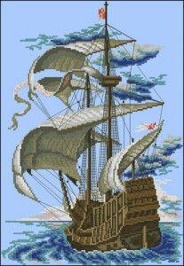 "Free cross-stitch pattern ""Sailboat""   Cross-Stitch Club"
