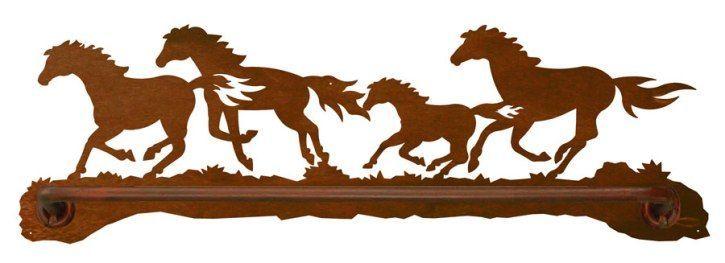 Wild Horses Scenic BATH Towel Bar 27 INCH BAR (BA-8-84) - A wonderful choice for the western, southwestern, cowboy, or horse themed bathroom ...
