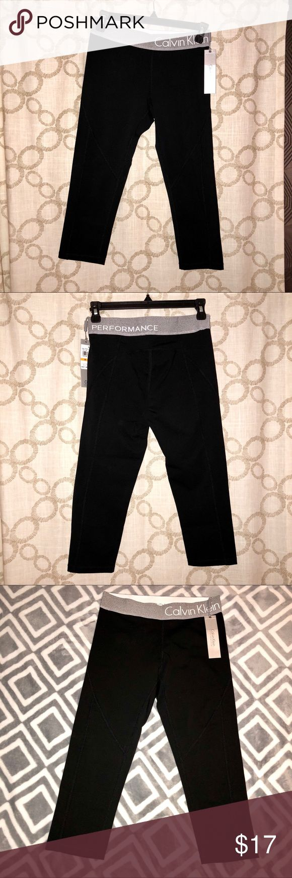 NWT Calvin Klein Performance cropped leggings Lovely black Calvin Klein performance black cropped legging tights! New with tags, Photos taken with and without flash, runs a little snug could definitely work for an XS as well  Bundle and save , I'll make a private offer !! 😊 Calvin Klein Pants