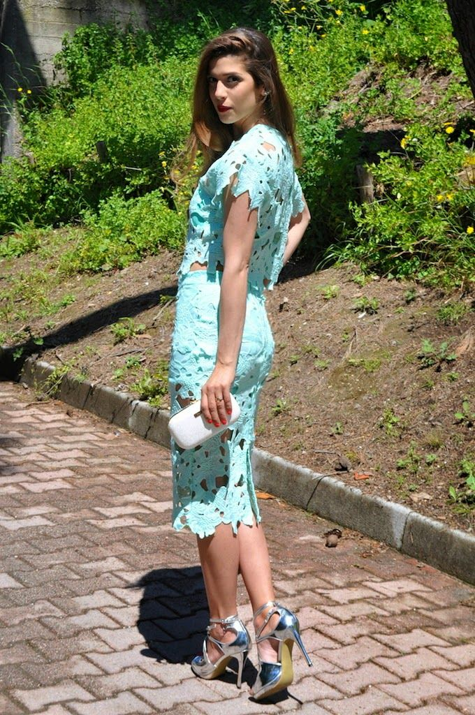 Cosa mi metto??? - personal style blog by Fabrizia Spinelli: All Mint Everything: crop top e gonna in pizzo color menta  LACY   # All Clothing#All Skirts#SHEER & LACE#jessicabuurman @Jessica Buurman @bitty m.