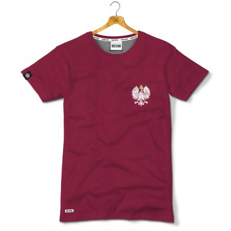 Koszulka patriotyczna Polski Orzeł bordo- Kolekcja Dyskretna - odzież patriotyczna, koszulki męskie Red is Bad