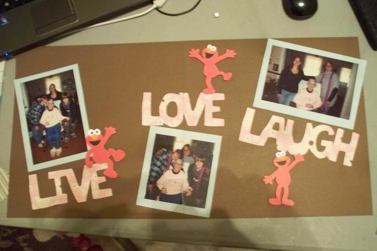 Scrapbook layout: Elmo Live, Love, & Laugh.  Cricut cartridge used: Elmo's Party