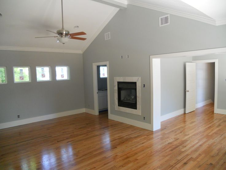 color of wood flooring with grey walls and white trimnot sure if we have white trim or the wood color trim