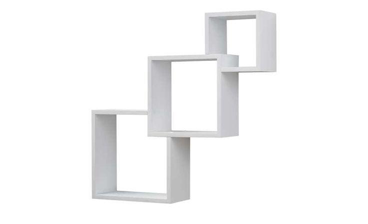 Wandregal 3er-Set Hochglanz weiß Cube, gefunden bei Möbel Höffner
