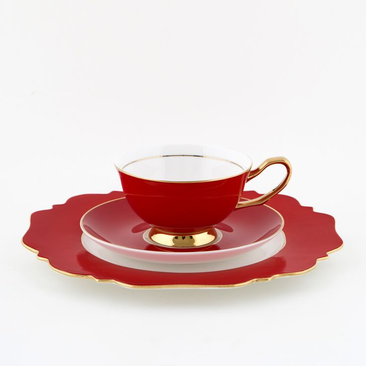 #Red #250mL #Teacup and #Saucer #Set with #Heart of #Gold #Sideplate | The #bold, #elegant, #stylish teacup. #Mix'n'match with our other #colours! Get inspired at #lyndalt.com