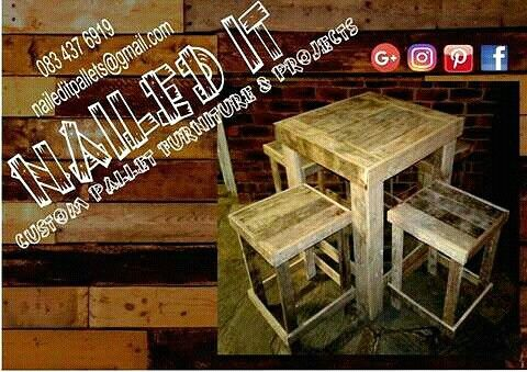Square Table and Benches. Ideal for having a few cold ones outside. Custom pallet wood furniture & decor. All items can be painted, treated or raw wood: your choice. If it's made from wood, we'll build it. Your imagination is your only limit. For more info or a quote contact 0834376919 or naileditpallets@gmail.com #palletwwoodfurniture #naileditpallets #palletfurniture #palletwoodfurniture #palletgardenfurniture #palletfurnituredurban #palletfurnitureamanzimtoti #palletbarfurniture…