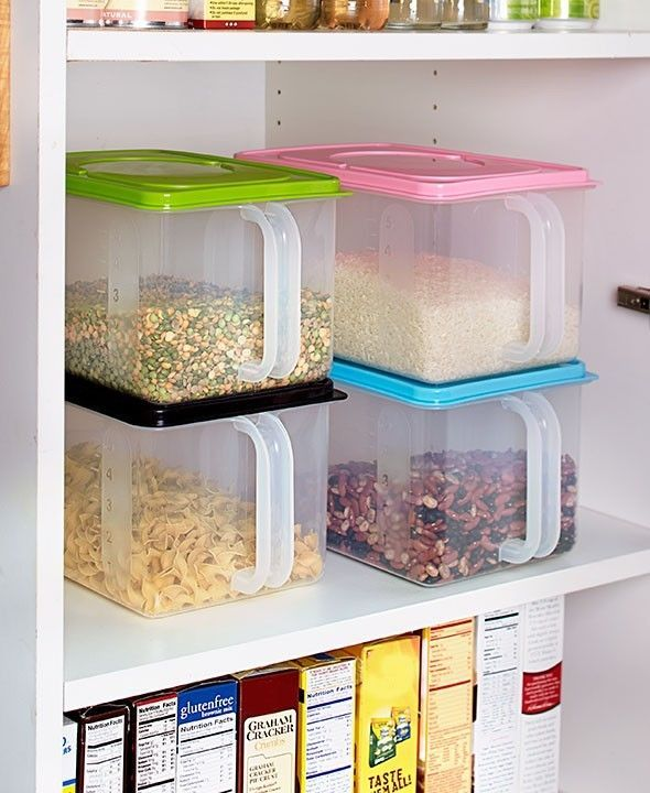 4 Food Storage Bins with Lids Pantry Kitchen Home Basics Rice Pasta Cereal   | eBay  Keep your food fresh and easily accessible with these 4 Food Storage Bins with Lids and Handles.