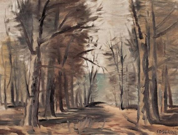 Stanley Cosgrove, Trees by a Sandy Lane