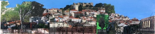 Lisboa. Lisbon. Miradouro II, técnica mista s/papel e caneta s/polipropileno, 20x90 cm, 2013. Joana Gancho Maria Lisboa. Art. Arte. Trema.