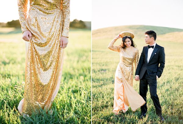 Traditional Vietnamese Bride and Groom - I want my dress to be rose gold