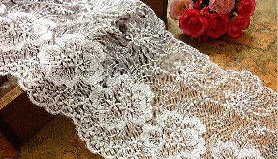 Beige Lace Trim, White, 5.9inch wide, For Scrapbook, Home Decor, Apparel, Accessories, Victorian & Romantic Crafts,wave lace ribbon