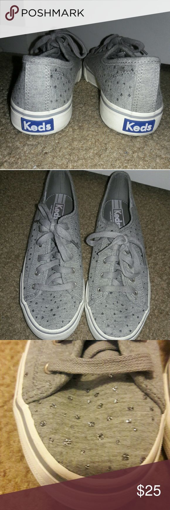 Keds tennis shoes grey with glitter dots size 8 Super cute old school Keds! Grey with glitter dots. So chic. Used once if any. Like new! Size 8 Keds Shoes Sneakers