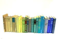 Antique Vintage Books Turquoise Green Shabby Chic Shelf Decor Decorative Instant Library Blue Yellow Beige