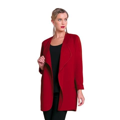 Clara Sunwoo Soft Ponte Stretch Knit Modern Duster in Red - CA501 – Shop My Fair Lady