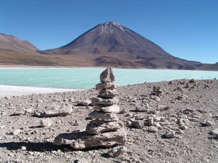 Ojos del Salado Lake - Lake on the Argentine and Chile border. It is the world's highest  lake at 6,390 metros
