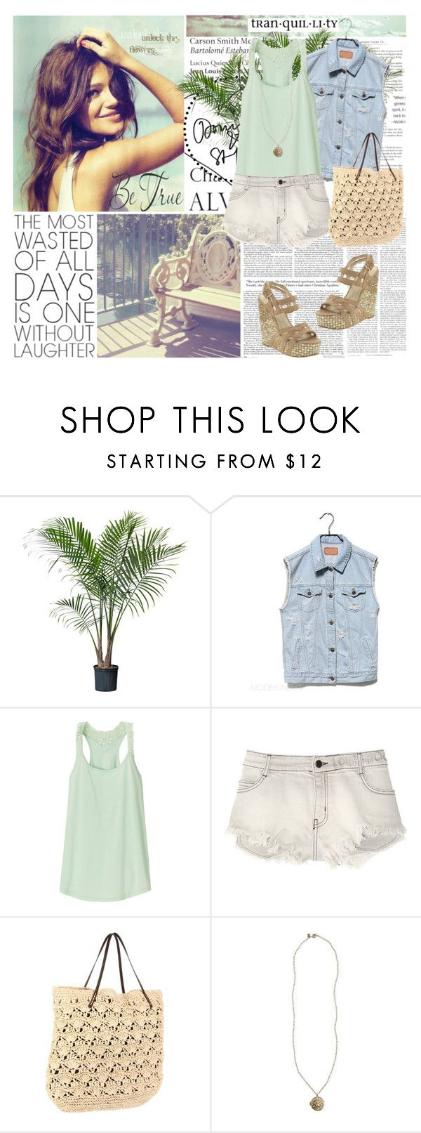 """""""Sit Back and Relax..."""" by i-like-clothes121 ❤ liked on Polyvore featuring WALL, Tiffany & Co., Uniqlo, Zadig & Voltaire, Nine West, Magid, J.Crew, denim shorts, straw tote bag and denim vest"""