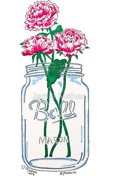Mason Jar Flowers Sticker By Jamie Maher Stickers Pinterest Etiquetas Fondos And Arte