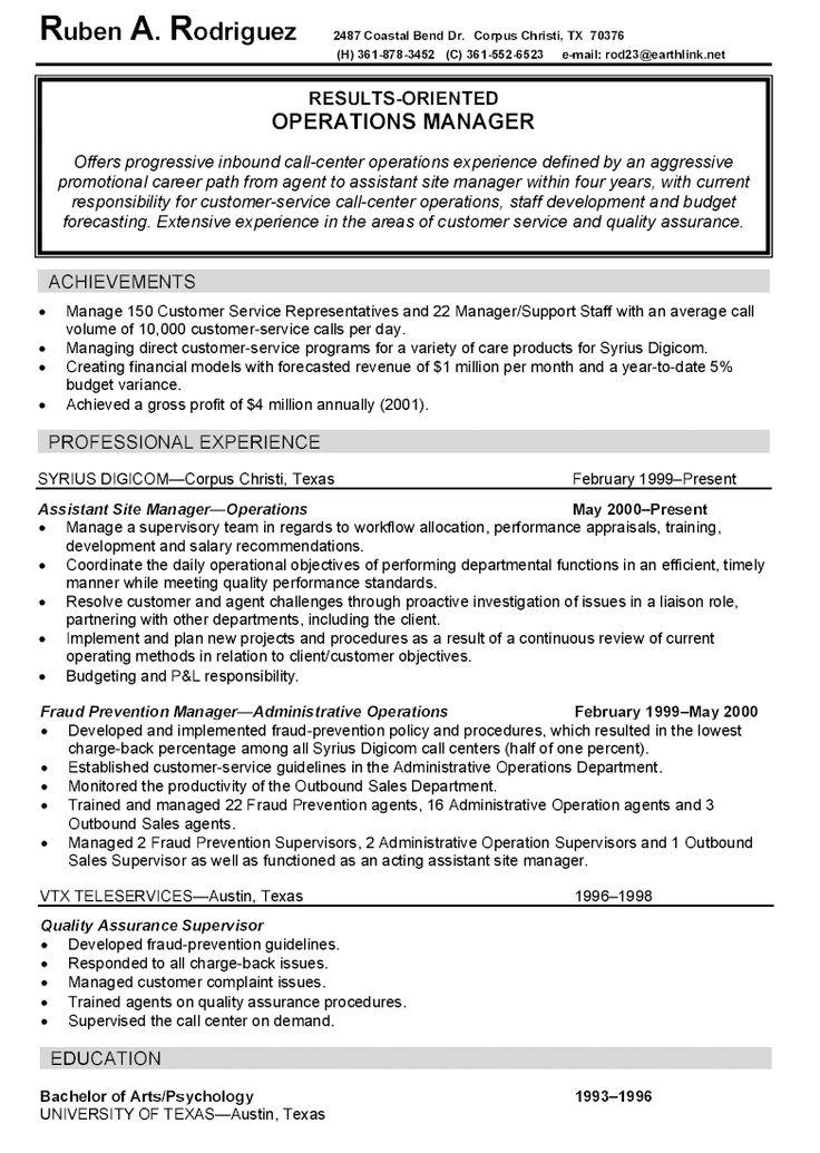 property manager resume summary
