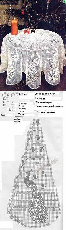 """Скатерть """"Павлин"""" крючком"""