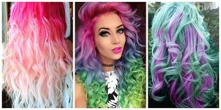 Multi color Hair Style #hairstyle #women #fashion #moda #mujeres