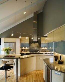 Exceptional Suspended Track Lighting For Vaulted Ceilings. Contemporary Kitchen ...