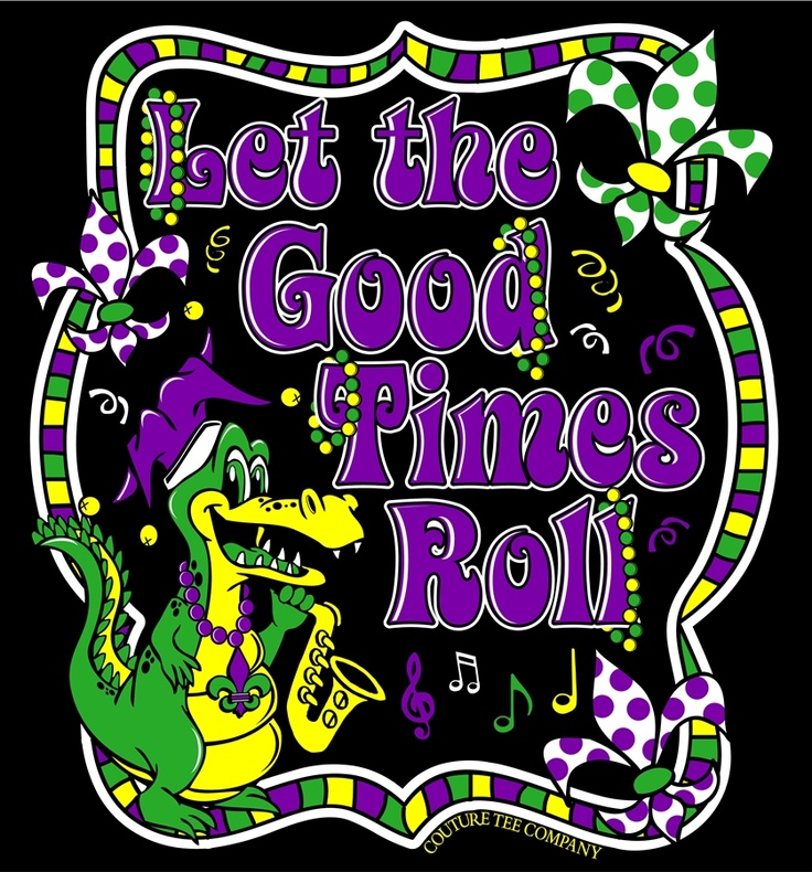 Let The Good Times Roll Gator Mardi Gras Couture Tee