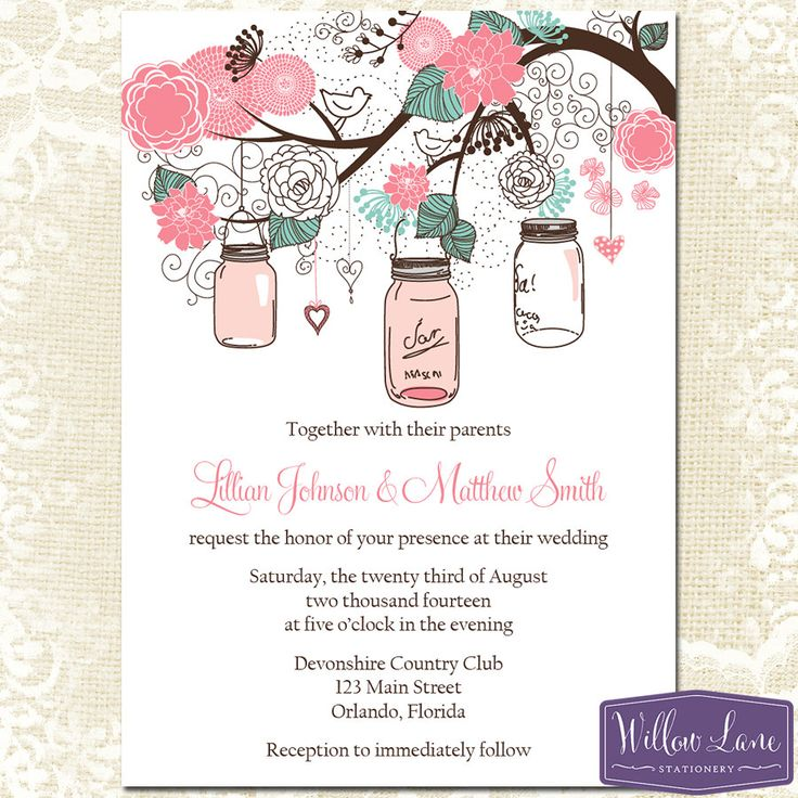 Mason Jar Wedding Invitation Pink And By WillowLaneStationery