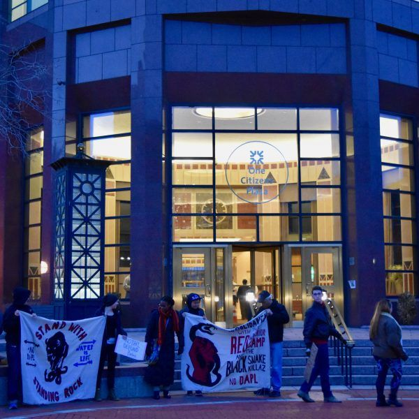 No DAPL bank protest Providence RI #FANG #defundDAPL #nopipelines  (photo by Fang Collective)