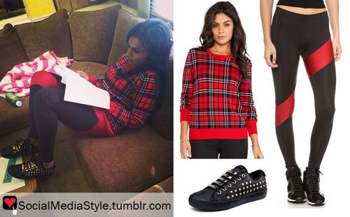 Buy Mindy Kaling's Red Plaid Sweater, Black and Red Leggings, and Black Studded Sneakers, here!