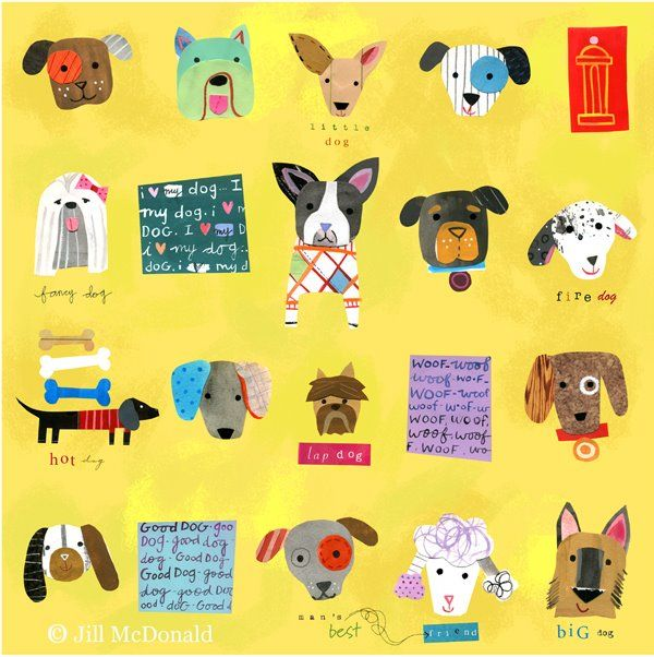 Quirky cute colourful illustrated dog portraits