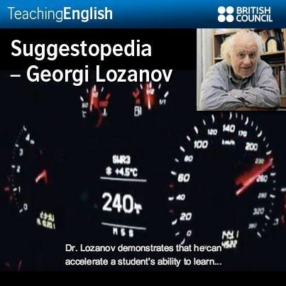A description of Suggestopedia (Suggestopaedia) http://elt.wikia.com/wiki/Suggestopedia  • Suggestopaedia – Desuggestive teaching by Dr. Georgi Lozanov  http://www2.vobs.at/ludescher/pdf%20files/SUGGESTOPAEDIA%20-%20book.pdf  • Georgi Lozanov website  http://www.dr-lozanov.com/en/en1.htm  • Video: A story of treason, cold war and language learning http://www.youtube.com/watch?v=NRJG7fLpm1c