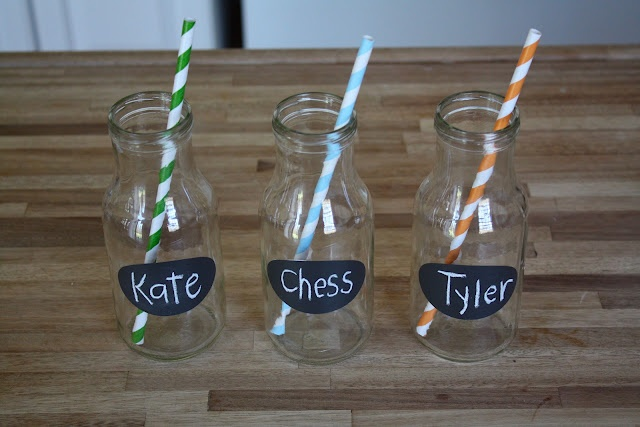 bottles labeled with chalkboard vinyl - perfect for parties!