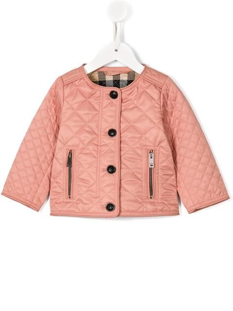 Shop Burberry Kids quilted collarless jacket.