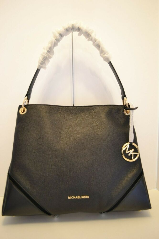 $398 NWT MICHAEL KORS NICOLE LG LEATHER SHOULDER BAG in